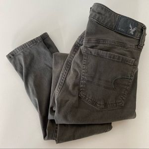 AEO Olive Army Green Sateen Skinny Jeans Jegging 0